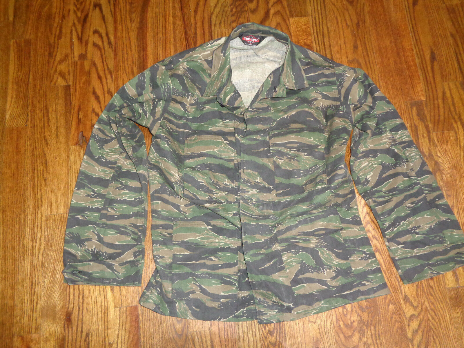 Jungle Tiger Stripe BDU Shirt Large Regular Tru-Spec Field Shirt  - $10.00