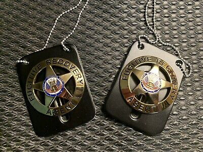 Lot Of 2 Fugitive Recovery Agent Gold Badge w/ Leather Neck Chain Bounty Hunter