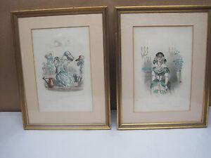 Framed Antique Hand Colored  Engravings  J.J.Grandville  $49.99 Each