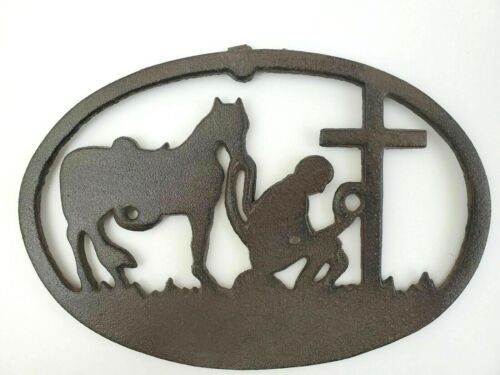 """NEW Western COWBOY Kneeling at Cross CAST IRON Hanger / Plaque   9-1/4"""" x 6-1/4"""