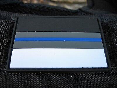 Klettpatch Rubberpatch ca. 6 x 4cm thin blue line Deutschland night camo Polizei