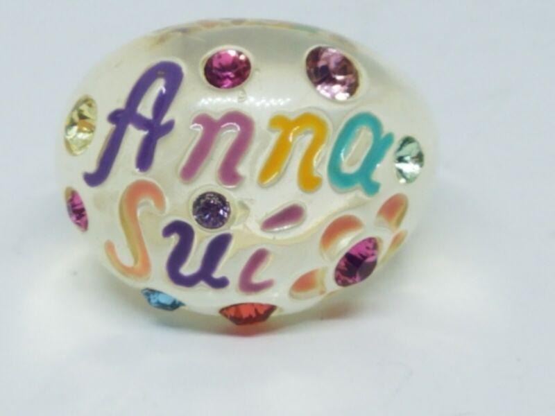 Retro Anna Sui Clear Lucite Plastic Multicolor Crystals Dome Ring Size 7