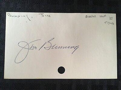 1955-71 HAND SIGNED DETROIT TIGERS/PHILLIES MLB *JIM BUNNING* JSA (D.2017)