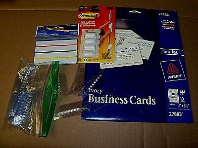 Mixed Lot Avery Ivory Cards 2 X 3 12- Cord Clips-file Label Pad-index Tabs