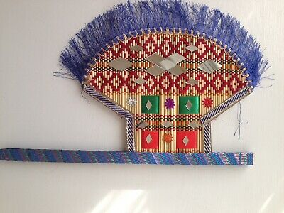 Traditional indian/pakistani bamboo fan with mirrors, embroidery & tassles.