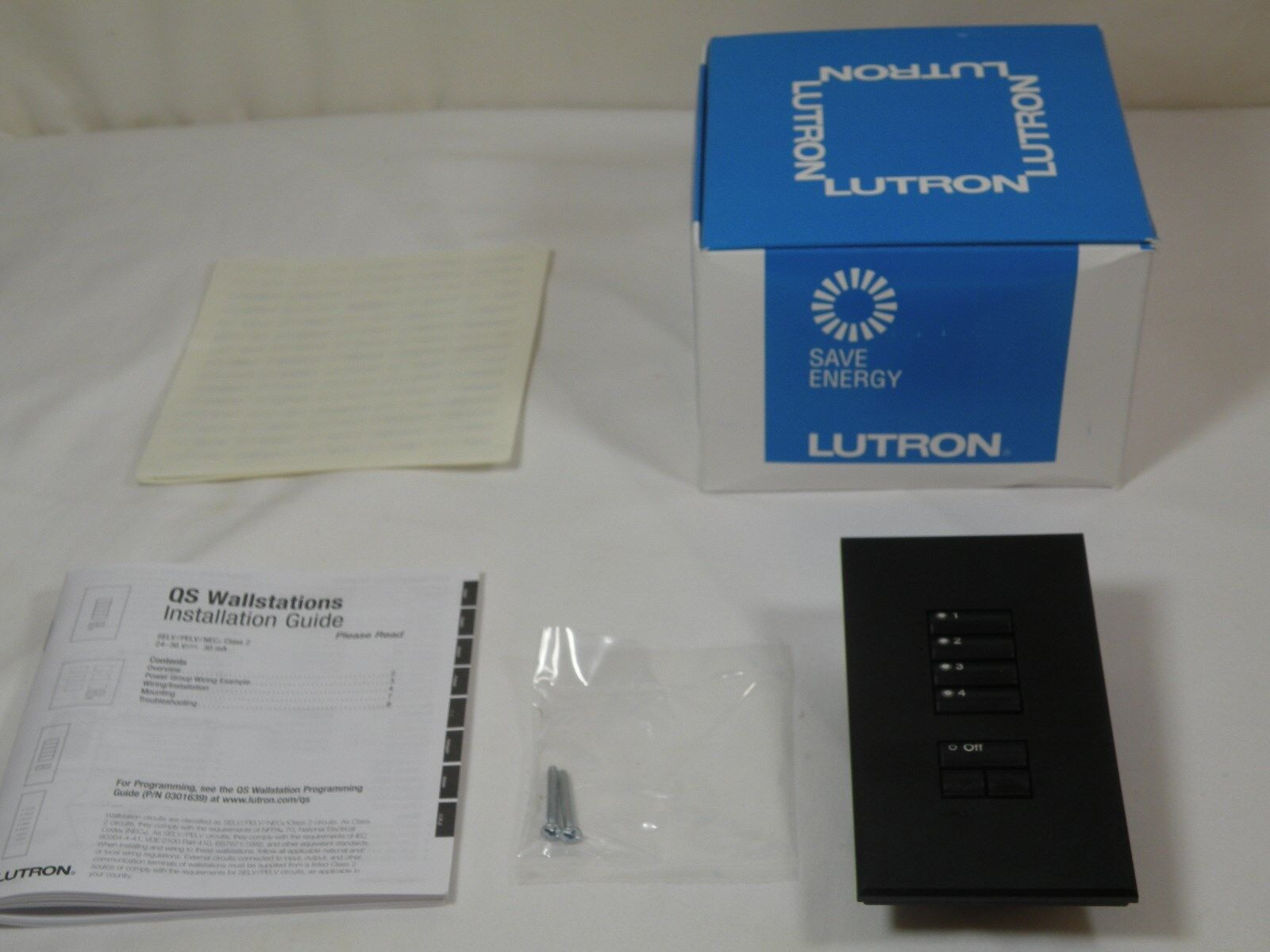 LUTRON SO-4SN, 4-Button Wallstation w/Off & Raise/Lower Buttons, Black, 36V