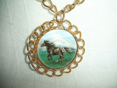 KRAMER SIGNED 35mm PORCELAIN HORSE PONY CAMEO GOLD PLATED CHAIN ALL-IN-ONE