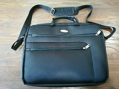 "SAMSONITE BRIEFCASE 15"" LAPTOP BLACK CANVAS ZIP MULTI SECTION BAG CASE EUC"