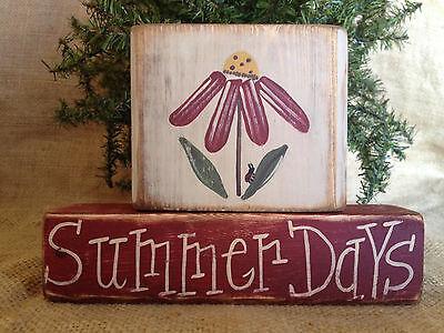 Primitive Country Flower Summer Days Ladybug 2 pc Shelf Sitter Wood Block Set