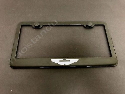 1x ASTON MARTIN LOGO BLACK Stainless Metal License Plate Frame + Screw Caps