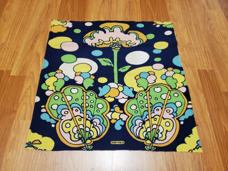 RARE Vintage Mid Century retro 70s 60s Peter Max bright pop floral fabric! LOOK!