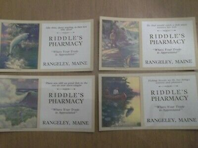 Vintage Ink Blotter: Set of FOUR Riddle's Pharmacy Rangeley Maine Me