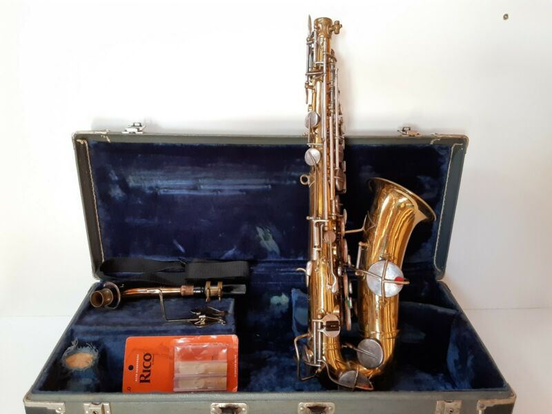 RARE Vintage Selmer New York Gold Low Pitch Saxophone 00772 Pat  Dec 1914 w Case