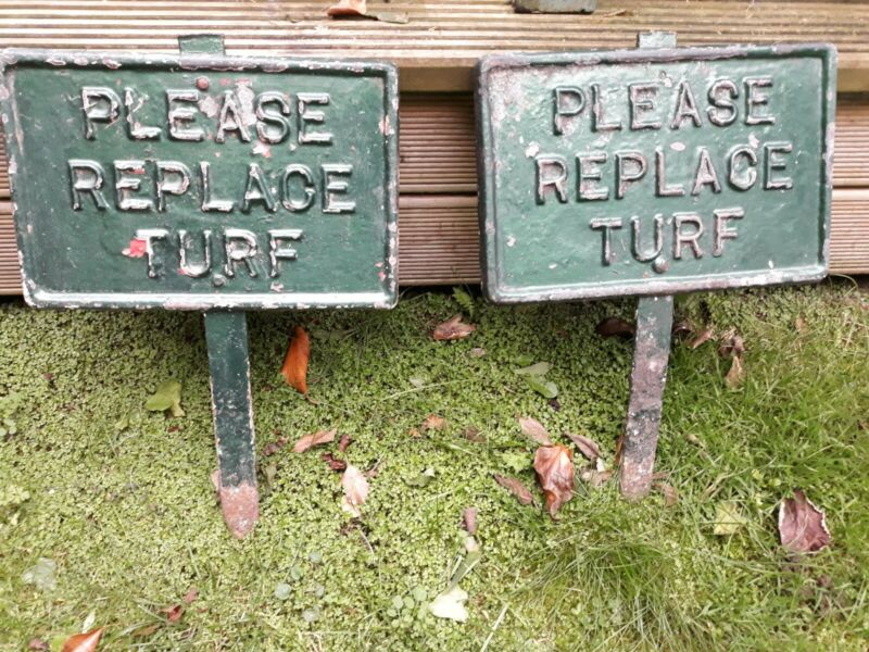 antique cast iron sign golf please replace turf collectable