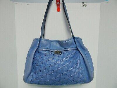 Elegant B.Makowsky Genuine Leather Tote Handbag Purse Blue Color