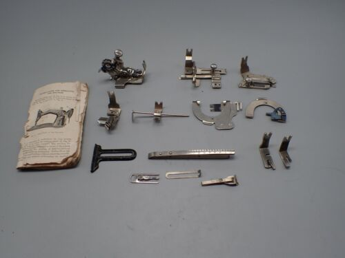 Vintage SINGER Sewing Machine BACK CLAMP  Attachments REAR MOUNT 2 Feet  Manual
