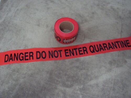 """RED Barricade Tape 3"""" DANGER DO NOT ENTER QUARANTINE. Roll. NOS."""