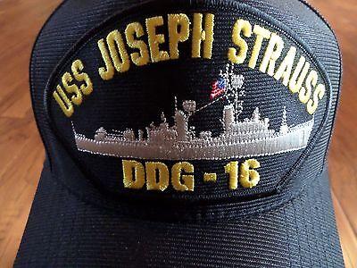 USS JOSEPH STRAUSS DDG-16 NAVY SHIP HAT U.S MILITARY OFFICIAL BALL CAP USA MADE
