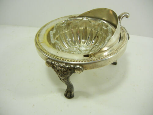 ANTIQUE SILVER FOOTED DOME ROLL TOP BUTTER DISH B ROGERS SILVER CO 1883 NO. 273