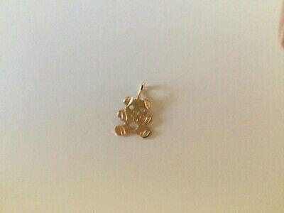 - 14k Yellow Gold Diamond Cut Teddy Bear Charm Pendant