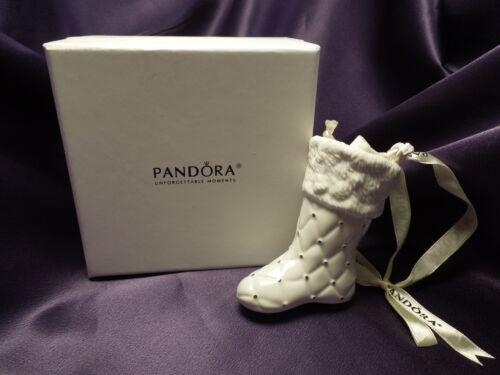 Pandora White Ceramic Stocking Ornament in Original Box w/ small bag