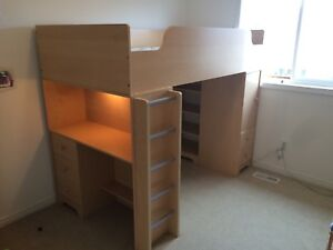 Kids bed Single bunk with desk, drawers & shelves