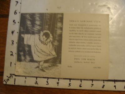 Vintage MARIONETTE Paper: 1952 prague card DEKUJI UPRIMNE VSEM COOL