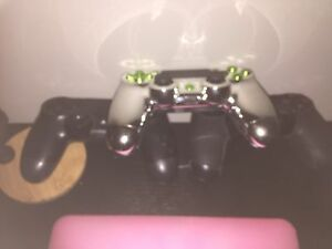 PS4 controller, 1 original, 1 chrome/green, 1 gripped & toggle London Ontario image 5