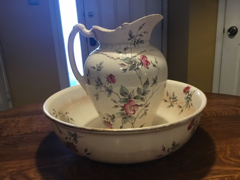 Vintage Eglantine W.A.A England Pitcher And Bowl Set