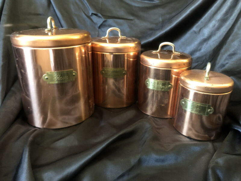 4 Pice Bristol Ware Copper Canister Set Flour Sugar Coffee Tea Kitchen Ware USA