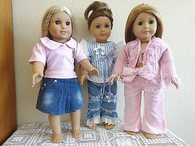 "NEW-DOLL CLOTHES:Pants/Skirt//Top [3 Sets] fit 18"" Doll such as AG Doll-Lot #256"