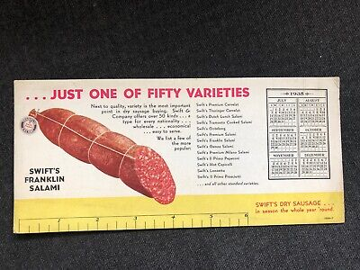 Vintage SWIFT'S FANKLIN SALAMI Ink Blotter 1935 Calendar Ruler