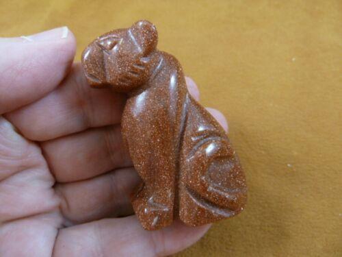 Y-CHE-715) orange Goldstone CHEETAH gemstone carving I love wild CATS cat statue