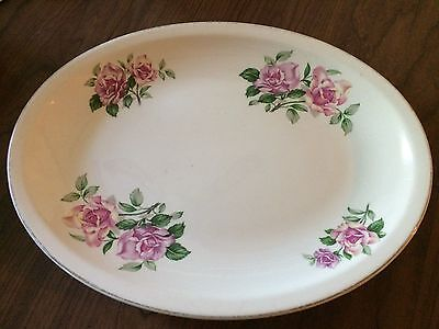 "Paden City Pottery Red Roses 14"" by 10.5""  Oval Platter"