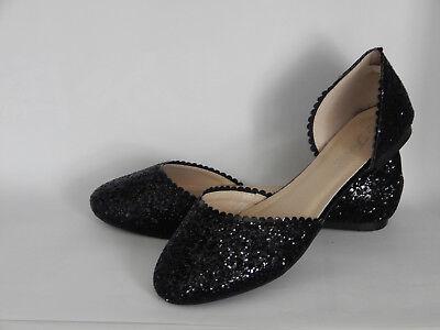 New women's shoes ballerina ballet flats round toe glitter Black Size 6~10