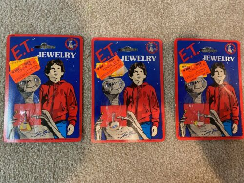 E.T. Jewelry ET Lot of 3 Sealed MOC New 1982 Aviva Star Power Charms Necklaces