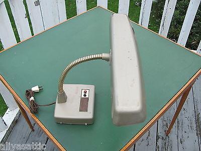 Vintage 1960's Industrial Desk Work Table Gooseneck Lamp Florescent Bulb Nice