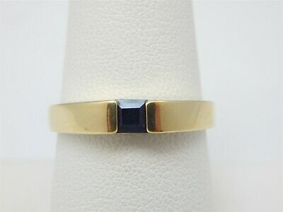 Semi Bezel Solitaire Setting - GOLD OVER STERLING SQAURE CUT SEMI BEZEL SET SAPPHIRE SOLITAIRE RING SIZE 8.75