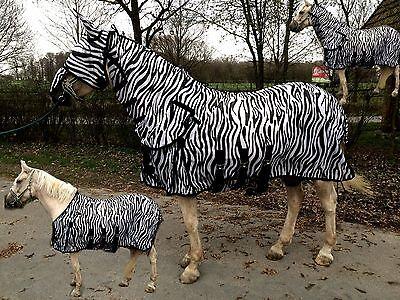 Hafer24 Ekzemerdecke Madrid Zebra Weidedecke + Halsteil +Gesichtsmaske alle (Alle Weißen Maske)