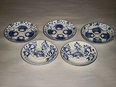 """SET OF 5 VINTAGE FREE HAND MADE COLOMBIA DOC.A MANO 5"""" BLUE PLATES 2 VARIETIES"""
