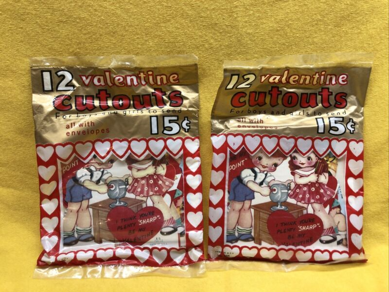 Vintage NOS 1960's Valentines 12 For 15 Cents - 2 Packages Sealed - Free Ship US