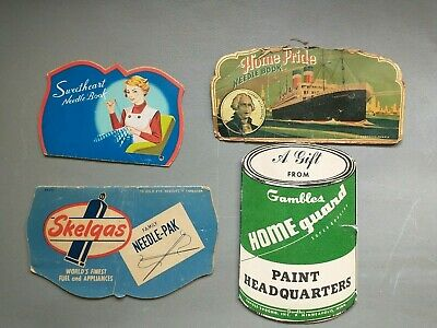 Lot of 4 Mixed Vintage Sewing Needle Packs  Books  Advertising SKELGAS GAMBLES