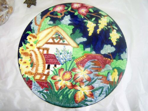 "Maling Pottery Majolica COTTAGE 11 1/8"" Charger Plate Beautiful COLOR"
