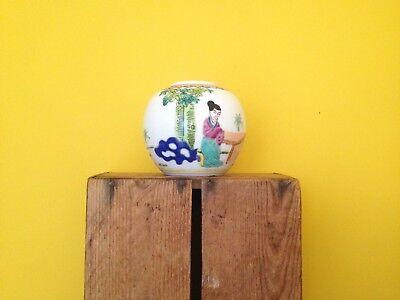 Oriental japanese chinese vintage look figurative round design vase flower pot