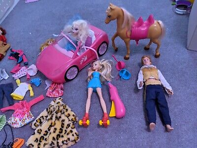 Barbie and other Dolls Bundle with horse car roller skater accessories