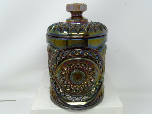 """Imperial Glass Hobstar Carnival Smoky Amethyst Covered 8"""" Cookie Jar"""