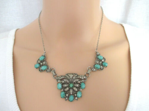 Vintage Art Deco Necklace Turquoise & Silver Beads Filigree