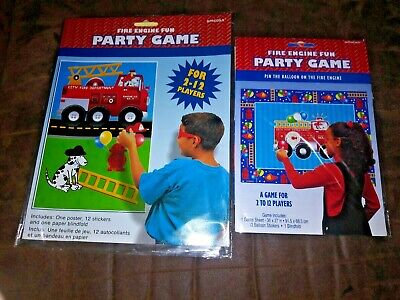 FIRE ENGINE FUN Party Game w Blindfold Firetruck Fireman Birthday Party Supplies (Firefighter Party Game)