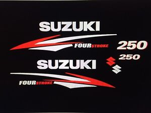 Suzuki 250 hp Four Stroke outboard engine decal sticker reproduction set