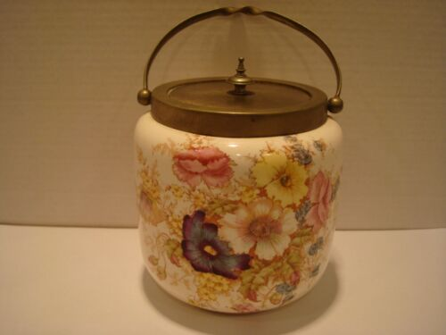 English Crown Devon Biscuit Barrel with Handle - S F & Co